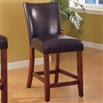 "Medium Brown 24"" Faux Leather Bar Stool With Warm Wood Finish"
