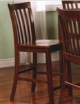 Brown Counter Height Slat Back Chair