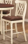 White Counter-Height Stool with Double Waved X-Back & Two Front Turned Legs