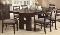 7 Piece Rectangular Dining Table Set with Pull Out Extension Leaf