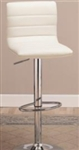 "Stylish White 29"" Upholstered Bar Chair with Adjustable Height"