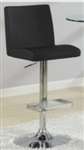 Chrome Finish Contemporary Adjustable Black Stool