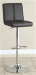 Faux Leather Chrome Finish Contemporary Adjustable Black Stool