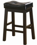 "Black Faux Leather 24"" Upholstered Seat Bar Stool"