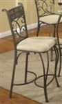 Metal Counter Height Stool with Upholstered Fabric Cushion Seat