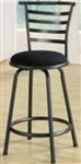 "24"" Metal Bar Stool with Black Microfiber Upholstered Seat"