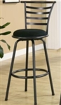 "29"" Metal Bar Stool with Black Microfiber Upholstered Seat"