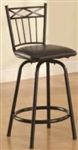 "24"" Metal Bar Stool with Black Faux Leather Upholstery"