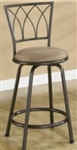 "24"" Metal Bar Stool with Brown Microfiber Upholstered Seat"
