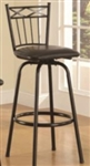 "29"" Metal Bar Stool with Black Faux Leather Upholstery"