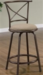 "24"" Metal Bar Stool with Tan Upholstered Seat"