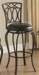 "29"" Elegant Metal Bar Stool with Black Faux Leather Seat"