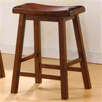 "Scooped Seat Wooden Contemporary 24"" Bar Stool With Oak Finish"
