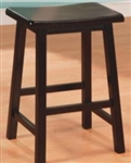 "Black 24"" Backless Wooden Bar Stool"