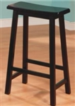 "Black Scooped Seat 29"" Backless Wooden Bar Stool"