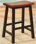 "Oak and Black 24"" Backless Wooden Bar Stool"