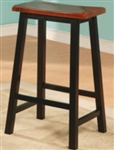 "Oak and Black Scooped Seat 29"" Backless Wooden Bar Stool"