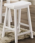 "White Scooped Seat 29"" Backless Wooden Bar Stool"