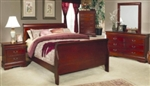 5 Piece Queen, King, or California King Brown Sleigh Panel Bed Set