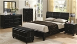 5 Piece Queen Brown Vinyl Upholstered Headboard Bed Set