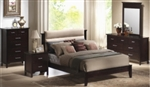 5 Piece Queen, King, or California King Platform Bed Set with Padded Upholstered Microfiber Headboard