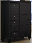 Black 8 Drawer Chest with Sliding Door