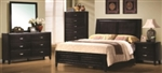 5 Piece Queen or King Brown Contemporary Headboard and Footboard Bed