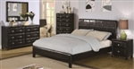 5 Piece Queen Paneled Headboard Bed Set in Black Vinyl