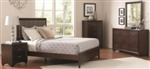 5 Piece Queen, King or California King Platform Style Bed Set with Dark Cherry Finish