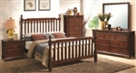 5 Piece Queen or King Warm Brown Wood Bed Set With Finials and Bracket Feet