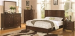 5 Piece Queen, King or California King Low Profile Bed with Panel Headboard