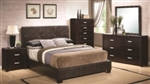 5 Piece Queen or King with Casual Bed with Vinyl Padded Headboard