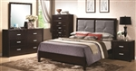 5 Piece Queen or King with Casual Bed with Padded Gray Headboard