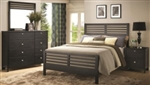 5 Piece Queen, King or California King Black Slat Bed Set