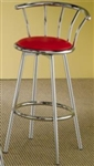 Seat Chrome Plated Bar Stool with Red Upholstered Seat