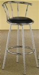 Seat Chrome Plated Bar Stool with Black Upholstered Seat