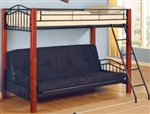 High Quality Metal and Wood Casual Twin over Futon Bunk Bed