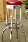 Red Vinyl Chrome Plated Soda Fountain Bar Stool