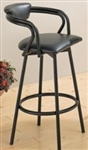 Black Vinyl Upholstered Cushioned Bar Stool