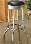 Black Vinyl Chrome Plated Soda Fountain Bar Stool