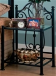 Casual Black Iron Nightstand with Shelf