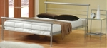 2 Piece Queen Modern Horizontal Line Iron Headboard & Footboard Bed Set