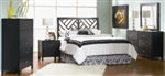 5 Piece Queen Black Cross Cut Design Bed Set