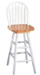 "Natural and White 29"" Arrow Back Windsor Swivel Bar Stool"