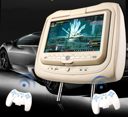 Pair Of Beige 9 Lcd Screen Headrest Car Dvd Players With Wireless Headphones Game Controllers