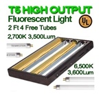 2Ft T5 High Output Grow Light with 4 Fluorescent Tubes