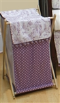 European Toilet Purple Poms Poms Wooden Clothes Hamper