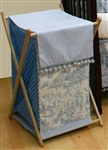 Blue Poms Poms Wooden Clothes Hamper