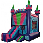 Commercial Grade Inflatable Multi Color 2in1 Combo Bouncy House