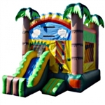 Commercial Grade Inflatable Rainbow Tropical Mini Slide 2in1 Combo Bouncy House